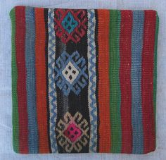 Organic Dyed Handembroidery Handwoven Turkish Kilim by chicethnic, $18.00