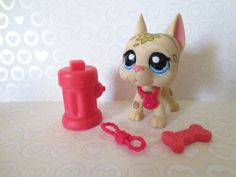 Littlest Pet Shop~ GREAT DANE Dog ~ Mini Deco No # Light Tan Print w Accessories #Hasbro