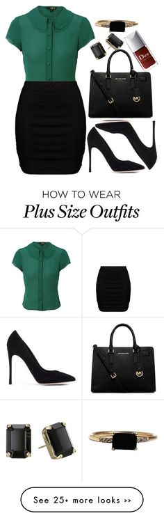"""""""Untitled #3006"""" by natalyasidunova on Polyvore featuring Hobbs NW3, Zizzi, Gianvito Rossi, MICHAEL Michael Kors, Kate Spade and LUMO"""