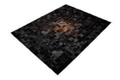 All Black!  Amazing Square Design Patchwork Cowhide Rug with a touch of light in the center.  Yes!