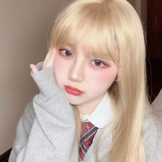 Korean Makeup Look, Asian Makeup, Korean Girl, Asian Girl, Beautiful Eyes Color, Ulzzang Hair, Blonde With Pink, Blonde Hair Girl, Uzzlang Girl
