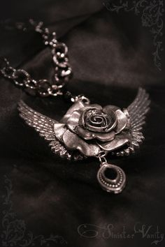 Gothic Victorian Antiqued Silver Rose Wings Black Onyx Tattoo Jewelry Necklace