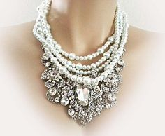 Statement Bridal Necklace, Wedding Pearl Rhinestone Necklace Earrings Set