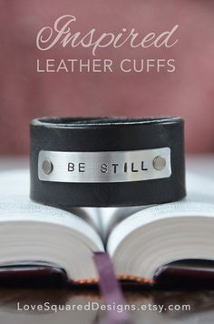 Be still leather cuff bracelet Men leather by LoveSquaredDesigns, $30.00