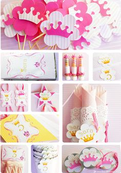 A party Kit for princess Sara. Little crowns, lots of pink and gold details.