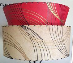 Retro vintage style boomerang fiberglass lamp shade mid century red retro modern vintage style 2 tier fiberglass lamp shade mid century atomic mozeypictures Gallery