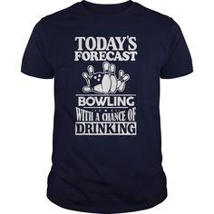 (Tshirt Top 10 Tshirt) Todays Forecast bowling with a chance Teeshirt Online Hoodies Tee Shirts