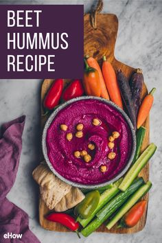 This recipe for beet hummus is a fun and delicious way to enhance and improve this amazing mediterranean spread. Beet Recipes, Low Carb Recipes, Cooking Recipes, Healthy Recipes, Healthy Foods, Hummus Flavors, Beet Hummus, Finger Food Appetizers, Appetizer Recipes