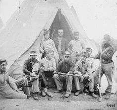 "Photo of a group of Union soldiers of Company G, 71st New York Volunteers, 1861. Source: Library of Congress Prints and Photographs Division. Read more on the GenealogyBank blog: ""Civil War Genealogy: Old Letters in Newspapers & Research Resources."" http://blog.genealogybank.com/civil-war-genealogy-old-letters-in-newspapers-research-resources.html"