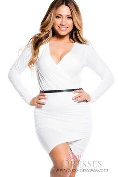 Sexy White Cross-Over Long Sleeve Dress