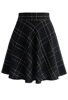 Black Tweed Skater Skirt in Check - Skirt - Bottoms - Retro, Indie and Unique Fashion