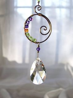 25% off Coupon Code. Suncatcher, Swarovski Crystal Teardrop, Brass Spiral, Wire Wrapped Lime Green, Orange, Purple, Sunny, Bright, Fun