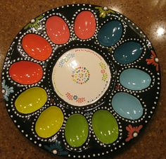 Egg plate painted at Inspirations Ceramics in Wenatchee.
