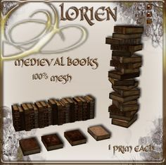 LORIEN MESH MEDIEVAL BOOKS (1 PRIM!)