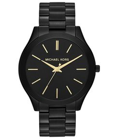 Michael Kors Watch, Women's Slim Runway Black-Tone Stainless Steel Bracelet 42mm MK3221 - All Michael Kors Watches - Jewelry  Watches - Mac...