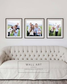 Candice Andrus Photography-Stunning Canvas Wall Portraits. Love the couch and love the photos above couch.