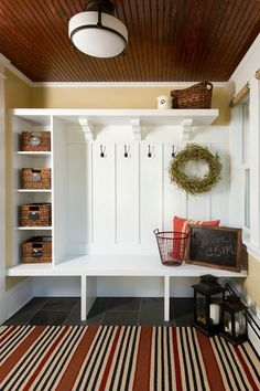 bench cubbies - two baskets for gear/toys center for boot tray or third shoe cubbies. Craftsman Entry by Anchor Builders
