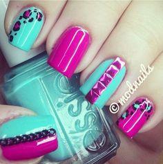 Teal and hot pink nails