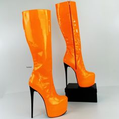 Orange Neon Gloss Mid Calf High Heel Boots Hot High Heels, Thick Heels, Sexy Heels, High Heel Boots, Heeled Boots, Colorful Heels, Barbie Stuff, Sexy Boots, Twiggy
