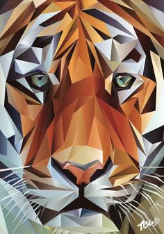 Geometric Tiger Portrait - Printed on high quality paper with a matt finish gsm) Sizes: &. Geometric Tiger, Geometric Drawing, Abstract Geometric Art, Geometric Designs, Geometric Shapes, Polygon Art, Tiger Art, Arte Pop, Mosaic Art