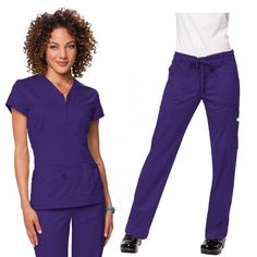 Koi Stretch Set in Grape consist of Koi Mackenzie scrub top and Koi Stretch Lindsey scrub trousers. The koi Mackenzie scrub top features a stylish topstitched zipper at the front. It is made with superior stretch fabric for a figure-flattering appearance. Do you like a more figure hugging scrub trouser leg? then the koi Stretch Lindsey Scrub Trousers are perfect for you.  £59.99  #nursescrubs #dentistuniform #nurses #dentists #purplescrubs