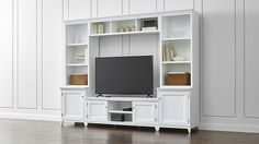 Harrison 6-Piece White Entertainment Center/Open Bookcases | Crate and Barrel