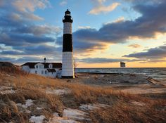 """""""A Guiding Light"""" Big Sable Point Lighthouse - Ludington, Michigan by John McCormick on 500px This photo required moving to the far side of the lighthouse where most people do not go. Best angle and framing I've seen so far of this lighthouse."""