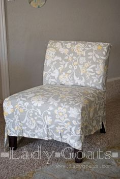 Slip Covering An Armless Accent Chair Great Tutorial
