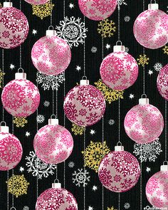 eQuilter - Season's Greetings - Elegant Ornaments - Black/Gold, from the 'Season's Greetings' collection by Fabri-Quilt.
