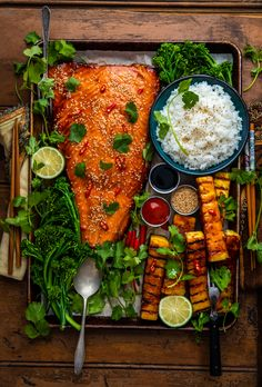 Traeger miso salmon with grilled pineapple dennis the prescott Salmon Recipes, Seafood Recipes, Cooking Recipes, Healthy Recipes, Fruit Recipes, Dinner Recipes, Clean Eating, Healthy Eating, Food Platters