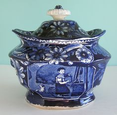 Clews Historical Staffordshire Water Girl Dark Blue Transfer Sugar Bowl