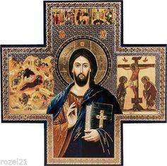 Wall cross 15cms metallic printed icon on wood
