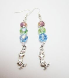 Mermaid Charm Beaded Earrings by WhispySnowAngel on Etsy, $8.00