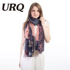 [URQ] Large Woman Long Soft Viscose scarf Autumn Winter Flower Dark blue Lady Scarf Shawl Wraps V8A19804