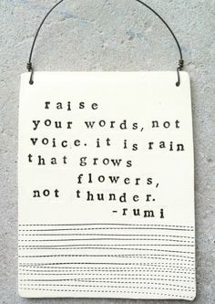 """ Raise Your Words Not Your Voice..."" - Rumi"