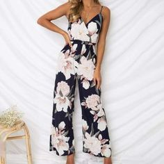 2fced7d372c45 Lily Rosie Girl Strap Chiffon Women Print Floral Jumpsuit Romper Belt Bow V  Neck