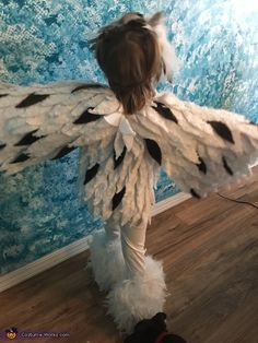Laurie: This is my 3 year old, Madelyn. We saw a lot of owl costumes on Pinterest so we worked off that. We looked at fabric but we wanted something soft...