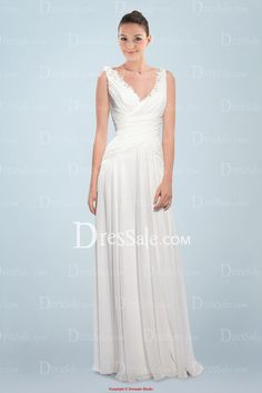 Ethereal Chiffon Column Bridal Gown Holding Delicate Ruches and Beaded Accents
