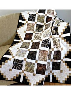 Twist & Turn Four-Patch Quilt Pattern Colchas Quilting, Scrappy Quilts, Easy Quilts, Quilting Designs, Quilting Ideas, Strip Quilts, Édredons Cabin Log, Log Cabin Quilts, Quilt Baby
