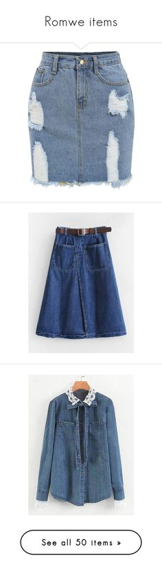 """""""Romwe items"""" by smajlovicelvira ❤ liked on Polyvore featuring skirts, blue denim skirt, denim skirt, knee length denim pencil skirt, denim pencil skirts, blue skirt, logo, words, text and fillers"""