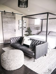 Create A Cozy But Modern Master Bedroom Seating Area By Placing Sofa In Front Of
