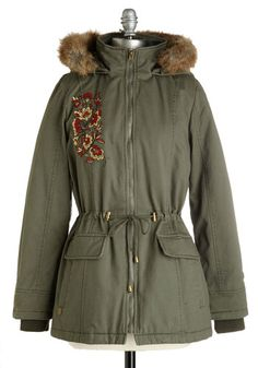 No Matter Strut Coat. Come snow, slush, or chilly winds, youll still be chic and cozy in this sage coat! #green #modcloth
