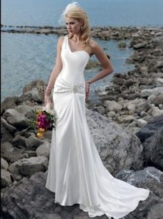 Robe de mariage A-ligne avec traîne moyenne une bretelle