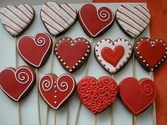 Red heart shape cookies