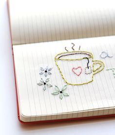one sheepish girl: Journal Embroidery I like this idea, draw straight onto paper then embroider and frame - cute gifts
