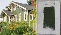 Best Exterior Outdoor Green House Paint Color, Pratt & Lambert Olive Shadow, Gardenista