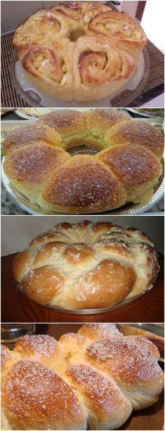 """ROSCA CREMOSA,GENTE PENSA EM UMA MASSA FOFINHA E CREMOSA!! VEJA AQUI>>>Como a rosca vai crescer, esses """"pingos"""" de massa vão se unir e formar a rosca Espere crescer até que dobrem de volume e coloque para assar a 180º, até que fique dourada #receita#bolo#torta#doce#sobremesa#aniversario#pudim#mousse#pave#Cheesecake#chocolate#confeitaria Pan Bread, Bread Cake, Brazillian Food, Making Sweets, Red Rice Recipe, Good Food, Yummy Food, Sweet Bread, Thanksgiving Recipes"""