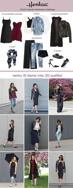 Minimalist Capsule Wardrobe Challenge - Wear basics without looking basic. Remix 15 of your favorite clothing items to make over 30 outfits! Join us with #henkaa15x30