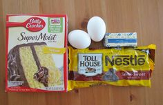 Ingredients:  1 (15 oz.) box yellow cake mix  2 eggs, beaten  5 tbsp. butter, melted  1 bag (12 oz.) semi-sweet chocolate chips