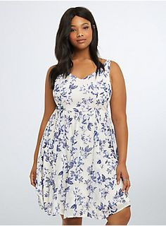 "<p>Garden party etiquette requires that you flaunt this frock. Ivory chiffon sports an ultra-violet floral print. A smocked back keeps you at ease, but the defined waistband keeps it fitted. A multi-strap back adds intrigue to the gorgeous design.</p>  <p> </p>  <p><b>Model is 5'11"", size 1</b></p>  <ul> 	<li>Size 1 measures 41"" from shoulder</li> 	<li>Polyester</li> 	<li>Wash cold, line dry</li> 	<li>Imported plus size dress</li> </ul>"